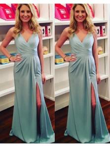 Charming Mermaid V Neck Slit Mint Chiffon Long Prom Dresses, Bridesmaid Dresses Under 100