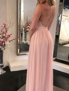 Charming A Line V Neck Backless Chiffon Pink Long Prom Dresses, Elegant Formal Evening Dresses Under 100