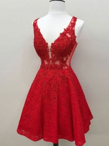 Cute A Line V Neck Backless Lace Red Short Homecoming Dresses with Applique, Graduation Dresses