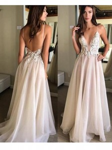 Charming A Line V Neck Spaghetti Straps Backless Tulle & Lace Wedding Dresses with Applique, Beach Wedding Dresses