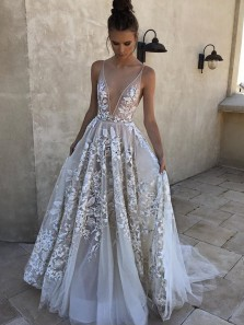Charming A Line V Neck Backless Long White Lace Wedding Dresses with Applique, Beach Wedding Dresses WD0721001