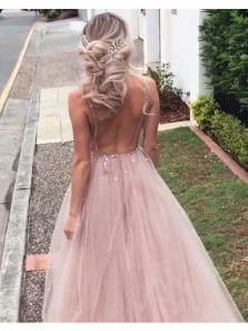 Charming A Line V Neck Backless Brush Pink Tulle Beaded Wedding Dresses with Train, Beach Wedding Dresses