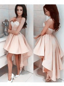 Charming A Line Sweetheart Backless High Low Blush Elastic Satin White Applique Homecoming Dresses, Formal Prom Dresses