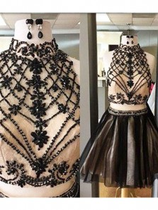Cute A Line Halter Two Piece Black and Champagne Tulle Short Homecoming Dress with Beading, Formal Short Prom Dresses