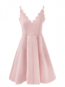 Cute A Line Petals Neck Spaghetti Straps Pink Short Homecoming Dresses Under 100, Formal Short Prom Dresses, Graduation Dresses