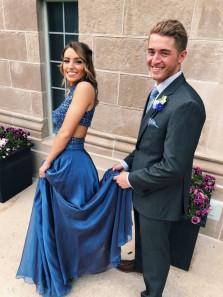 Elegant A Line Halter Cross Royalblue Long Prom Dresses with Beading, 2018 Formal Evening Dresses PD0723001