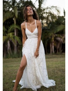 Boho A Line V Neck Spaghetti Straps White Lace Wedding Dresses with Cross Back, Beach Wedding Dresses WD0723001