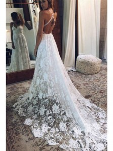 Boho A Line V Neck Spaghetti Straps White Lace Wedding Dresses with Cross Back, Beach Wedding Dresses WD0723001