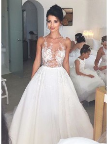 Unique Ball Gown Round Neck Open Back White Wedding Dresses with Appliques WD0723005