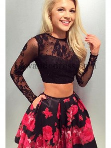 Charming Two Piece Round Neck Print Flower Long Sleeve Lace Black Short Homecoming Dresses with Pocket, Graduation Dresses