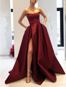 Sexy A-Line Strapless Burgundy Satin Side Slit Long Prom Dresses with Pockets, Simple Formal Party Dresses PD8001