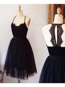 A-Line Spaghetti Straps Open Back Black Tulle Short Homecoming Dress with Lace