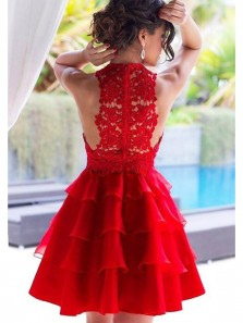 Chic A-Line Halter Tiered Red Chiffon Short Homecoming Dress with Lace