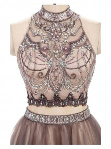 A-Line Two Piece Halter Backless Brown Tulle Short Homecoming Dress with Beading