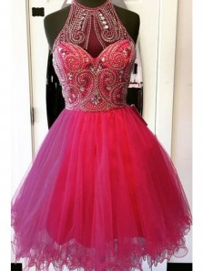 A Line Halter Open Back Rose Red Tulle Short Homecoming Dresses with Beading, Short Prom Dresses