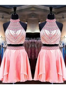 A Line Two Piece Halter Coral Short Homecoming Dresses with Beading, Short Prom Dresses