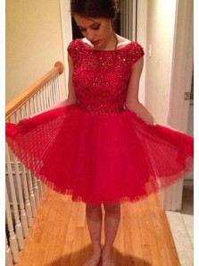 A Line Scoop Open Back Red Tulle and Satin Short Homecoming Dresses with Beading, Short Prom Dresses