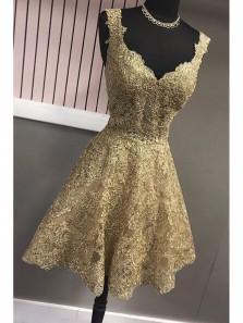 Unique A Line V Neck Open Back Gold Lace Short Homecoming Dresses with Appliques, Short Prom Dresses