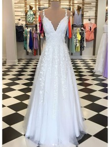 Elegant V Neck Spaghetti Straps Backless White Long Prom Dresses with Applique, Formal Evening Dresses PD0723010