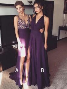 Simple A Line V Neck Slit Purple Chiffon Long Prom Dresses, Elegant Formal Evening Dresses Under 100 PD0724001