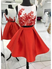 A Line Two Piece Scoop Red Satin Short Homecoming Dresses with Appliques, Short Prom Dresses