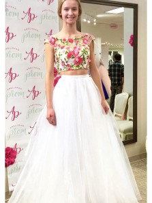 A Line Two Piece Scoop Open Back Embroidery White Long Prom Dresses, Junior Prom Dresses