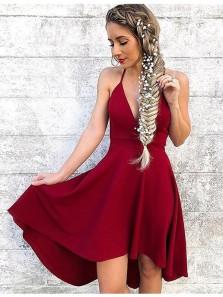 A Line V Neck Backless Wine Short Homecoming Dresses, Short Prom Dresses Under 100