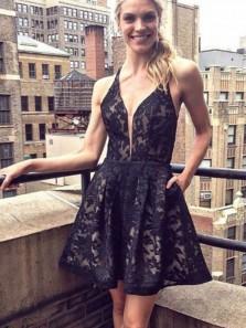 A Line V Neck Cross Back Lace Black Short Homecoming Dresses, Short Prom Dresses