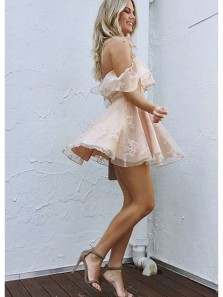 Cute A Line Off the Shoulder Pink Lace Short Homecoming Dresses, Junior Prom Dresses Under 100
