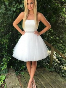 A Line Sweetheart Beaded Lace White Short Homecoming Dresses, Sparkly Tulle Short Prom Dresses