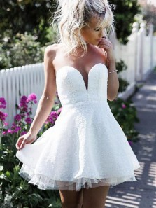 A Line Sweetheart White Lace Short Homecoming Dresses, Sparkly Tulle Prom Dresses