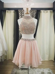 A Line Two Piece Halter Pink Short Homecoming Dress with Beading, Short Prom Dresses