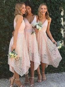 A Line V Neck Asymmetrical Lace Bridesmaid Homecoming Dresses PD0724005