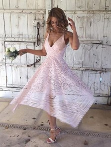 A Line V Neck Asymmetrical Lace Bridesmaid Homecoming Dresses PD0724005