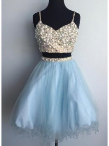 Cute A Line Two Piece V Neck Champagne and Blue Short Homecoming Dresses with Beading