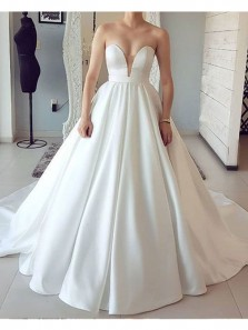 Ball Gown V Neck Satin White Long Wedding Dresses with Court Train WD0724005