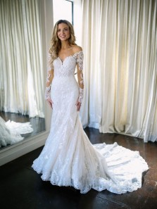 Mermaid Sweetheart Long Sleeve Lace White Wedding Dresses with Court Train WD0725001