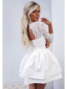 A Line V Neck Long Sleeve Lace White Short Homecoming Dresses, Short Prom Dresses