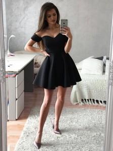 Cute A Line Off the Shoulder Black Short Homecoming Dresses with Pocket, Short Prom Dresses Under 100