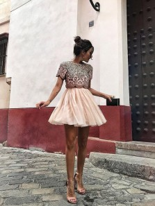 A Line Two Piece Round Neck Short Sleeve Short Homecoming Dresses with Beading, Short Formal Prom Dresses