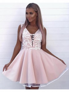 A Line V Neck Pink Embroidery Short Homecoming Dresses