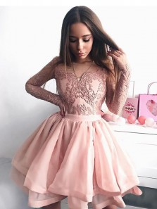 A Line Scoop Open Back Long Sleeve Lace Brush Short Homecoming Dresses, Short Prom Dresses