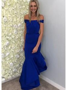 Charming Mermaid Off the Shoulder Royal Blue Elastic Satin Long Prom Dresses, Unique Evening Dresses