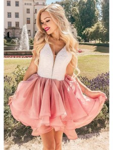 Cute A Line V Neck Open Back White & Brush Short Homecoming Dresses with Lace, Short Formal Prom Dresses