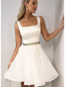 Cute A Line Square Neck Open Back White Short Homecoming Dresses with Beading, Short Formal Prom Dresses Under 100