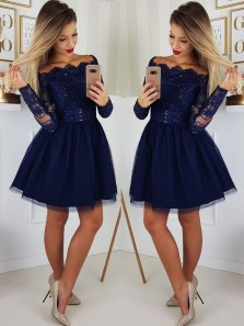 Cute A Line Off the Shoulder Long Sleeves Navy Short Homecoming Dresses with Applique, Short Formal Prom Dresses HD0725010