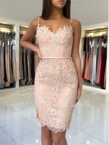 Bodycon Tight Sweetheart Spaghetti Straps Brush Short Homecoming Dresses with Appliques, Short Prom Dresses HD0725011