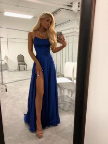 A Line High Slit Spaghetti straps Backless Royal Blue Long Prom Dresses Under 100 with Pockets, Simple Elegant Evening Dresses PD0725002