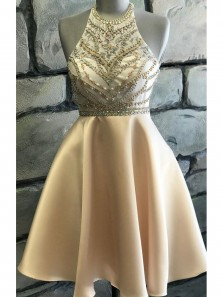 Cute A Line Halter Open Back Champagne Satin Short Homecoming Dresses with Beading
