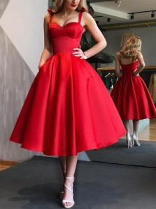 Cute A Line Sweetheart Open Back Red Satin Midi Homecoming Dresses with Pocket, Formal Midi Prom Dresses
